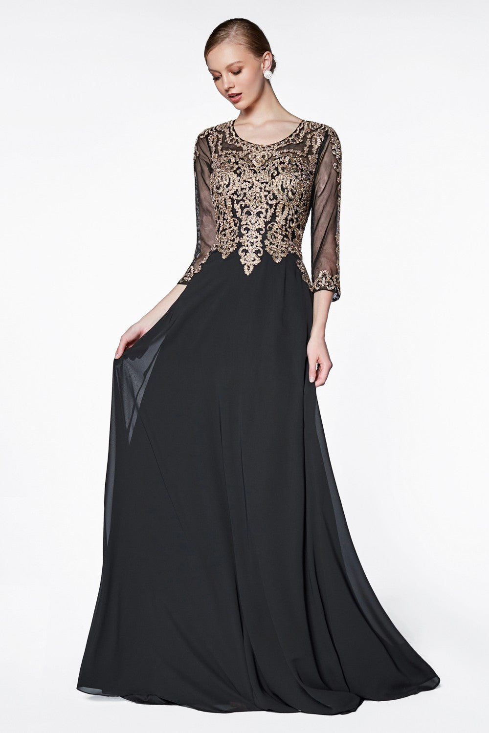 Flowy A-Line Chiffon Gown With Three-Quarter Sleeves, Lace Detailed Bodice And Closed Back