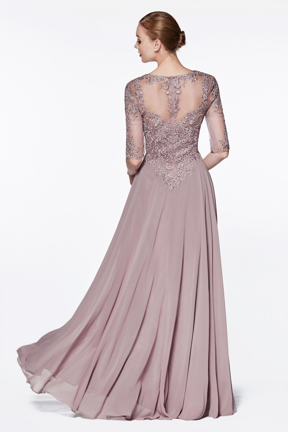 A-Line Chiffon Gown With Half Sleeve And Jeweled Lace Bodice