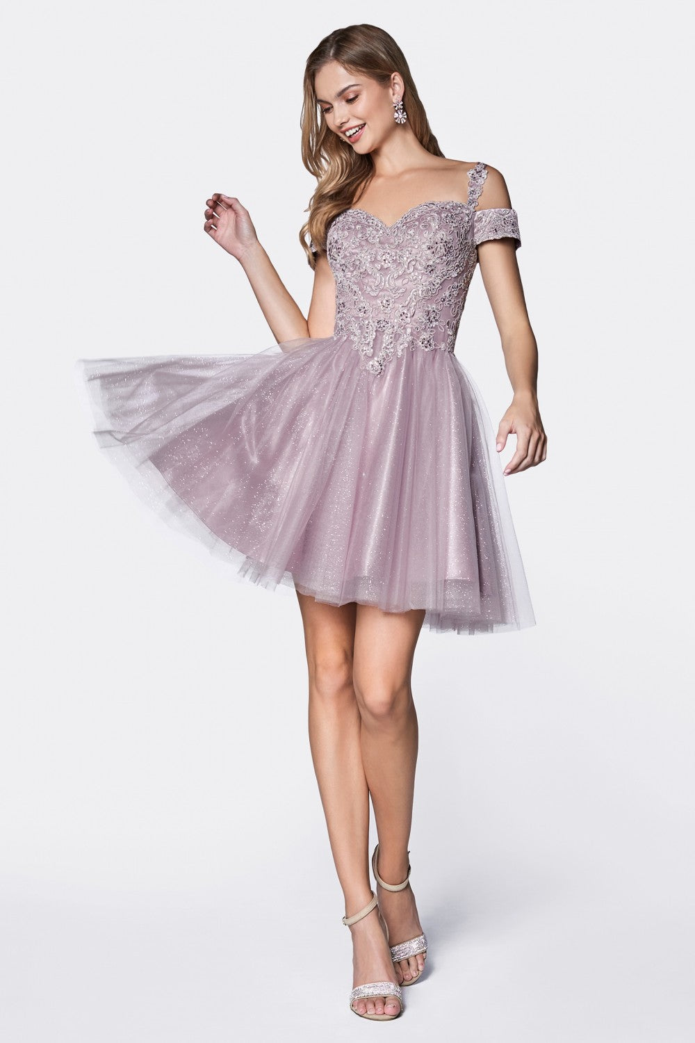 Short Cocktail Dress With Off The Shoulder Lace Detail And Glitter Tulle Skirt