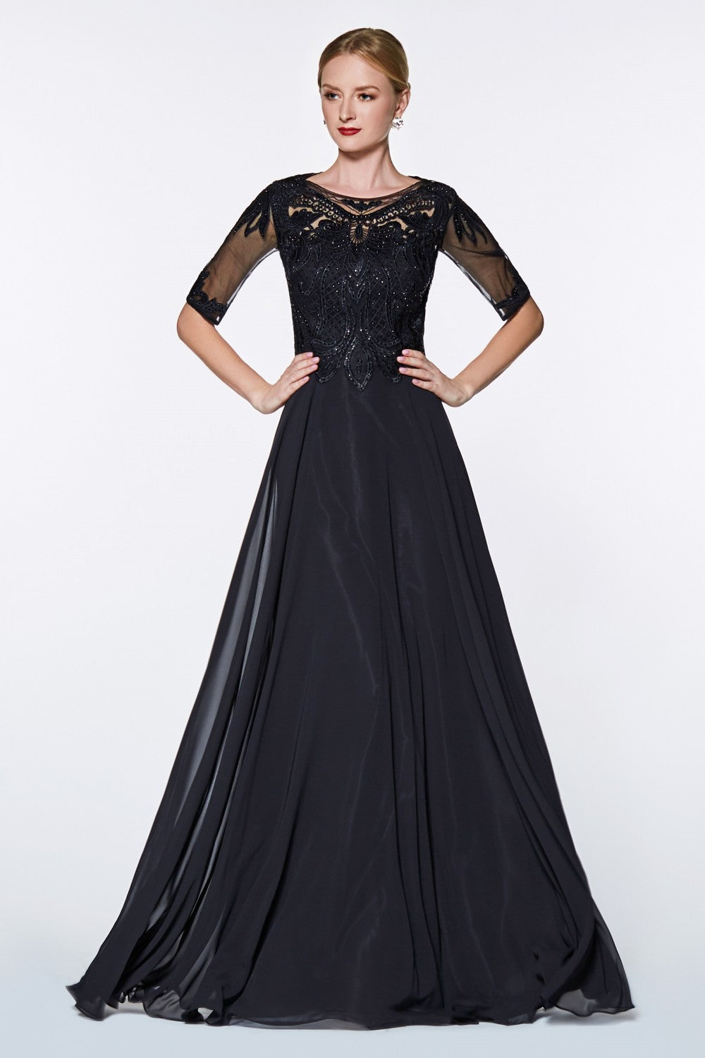 Three Quarter Sleeve A-Line Gown With Beaded Lace Top And Chiffon Skirt