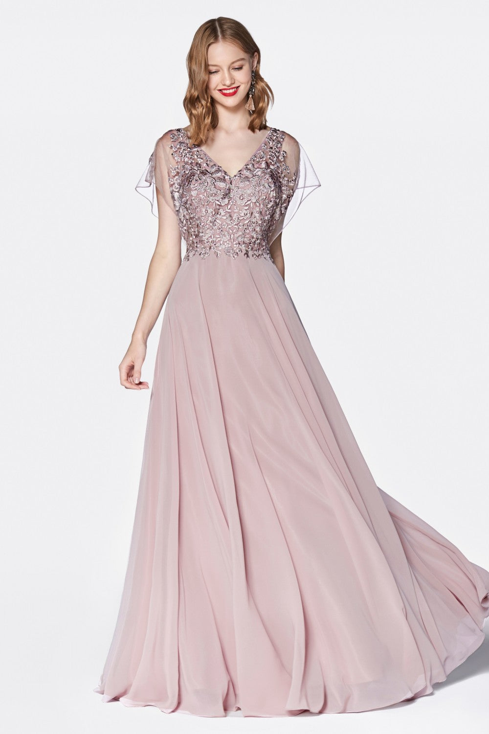 A-Line Chiffon Gown With Lace Bodice And Flutter Sleeve