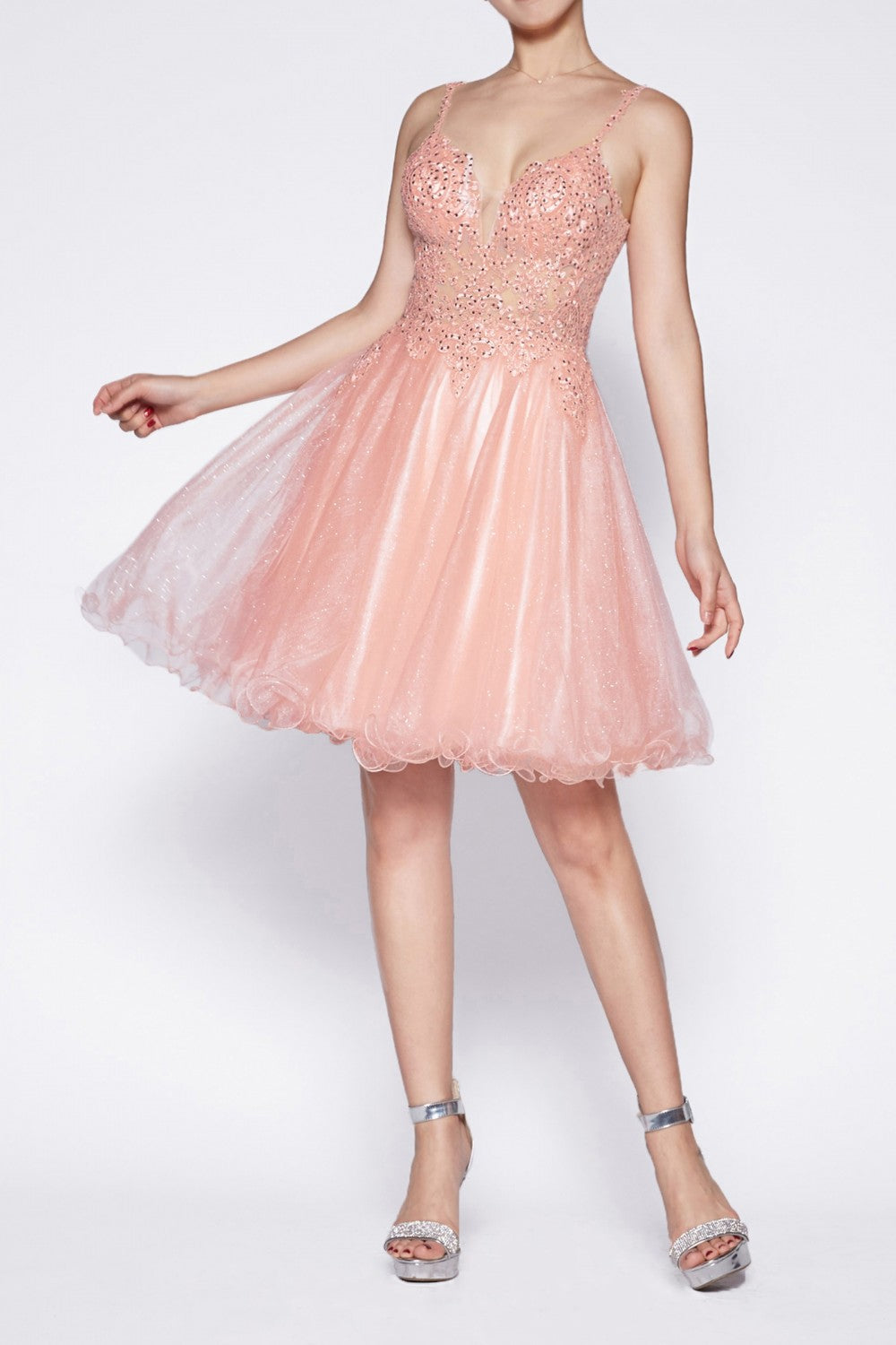 A-Line Short Dress With Glitter Tulle And Jewled Lace Bodice