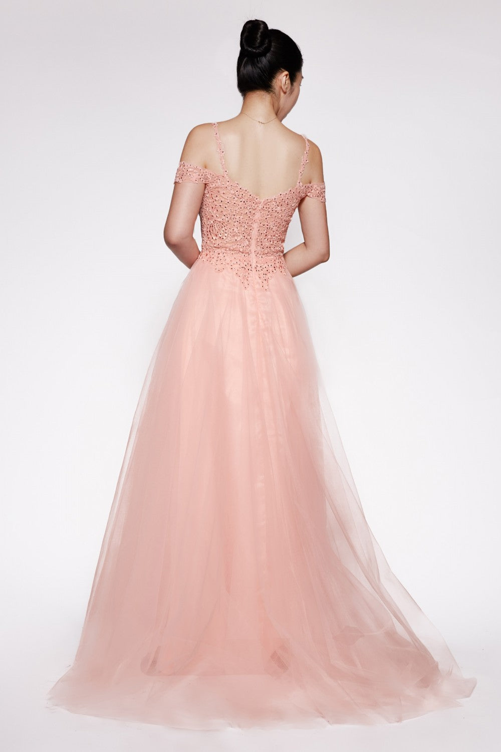 Off The Shoulder Tulle Gown With Leg Slit And Beaded Bodice
