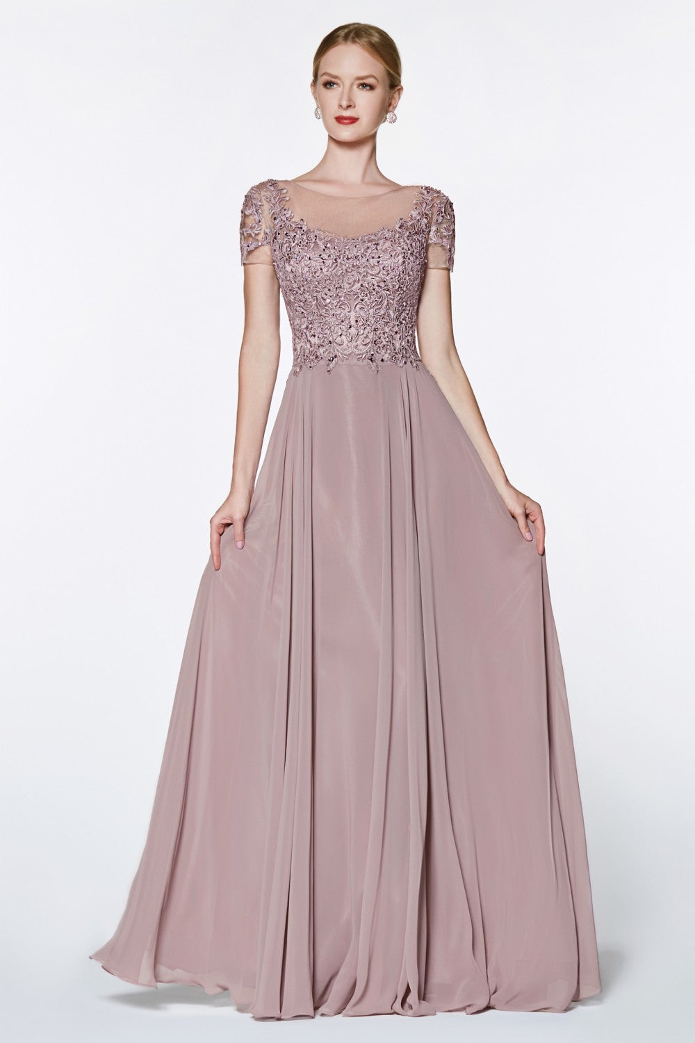 Cap Sleeve Chiffon Gown With Beaded Lace Detail And Closed Back
