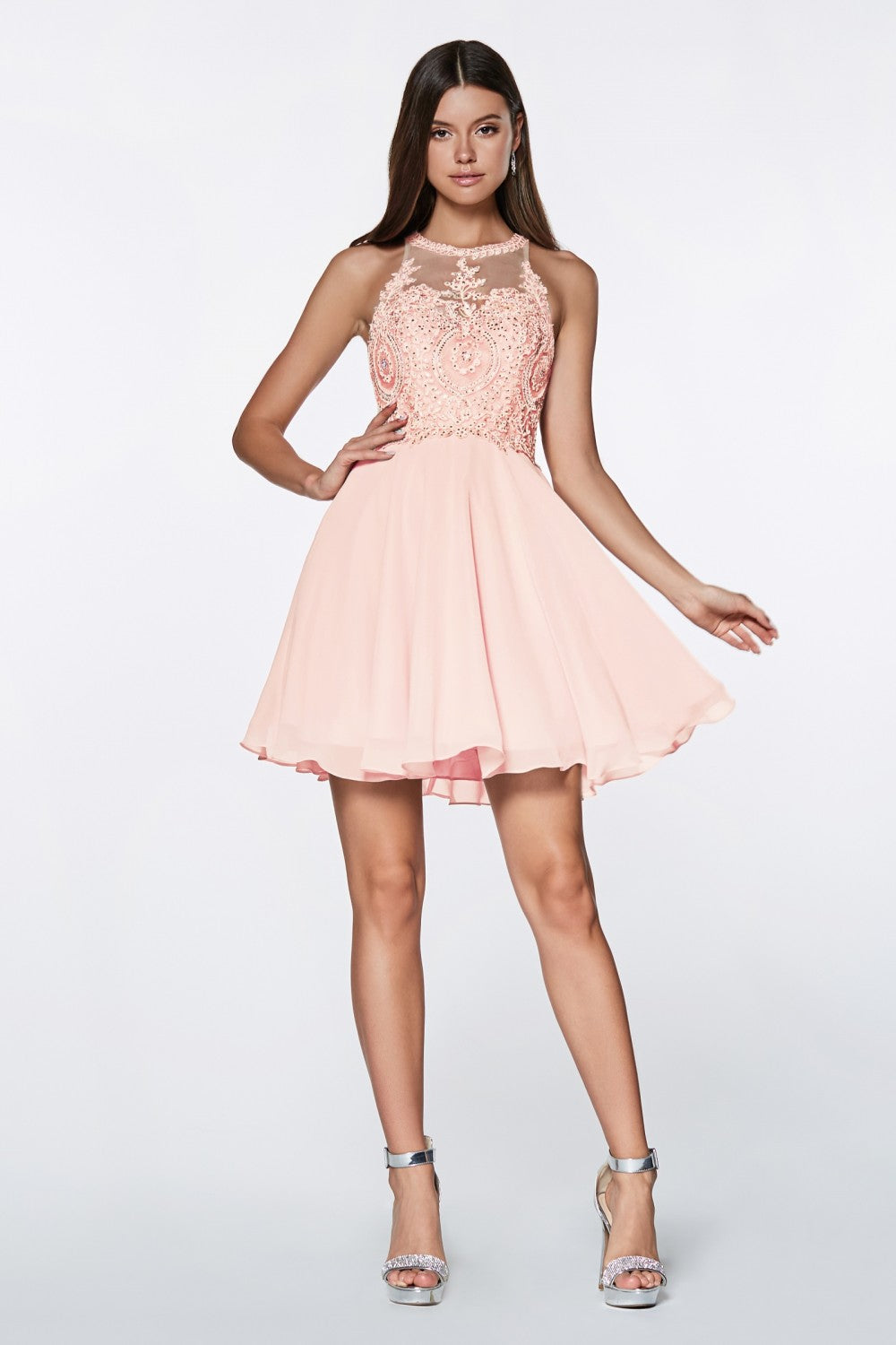Short A-Line Dress With Chiffon Skirt And Beaded Lace Halter Bodice