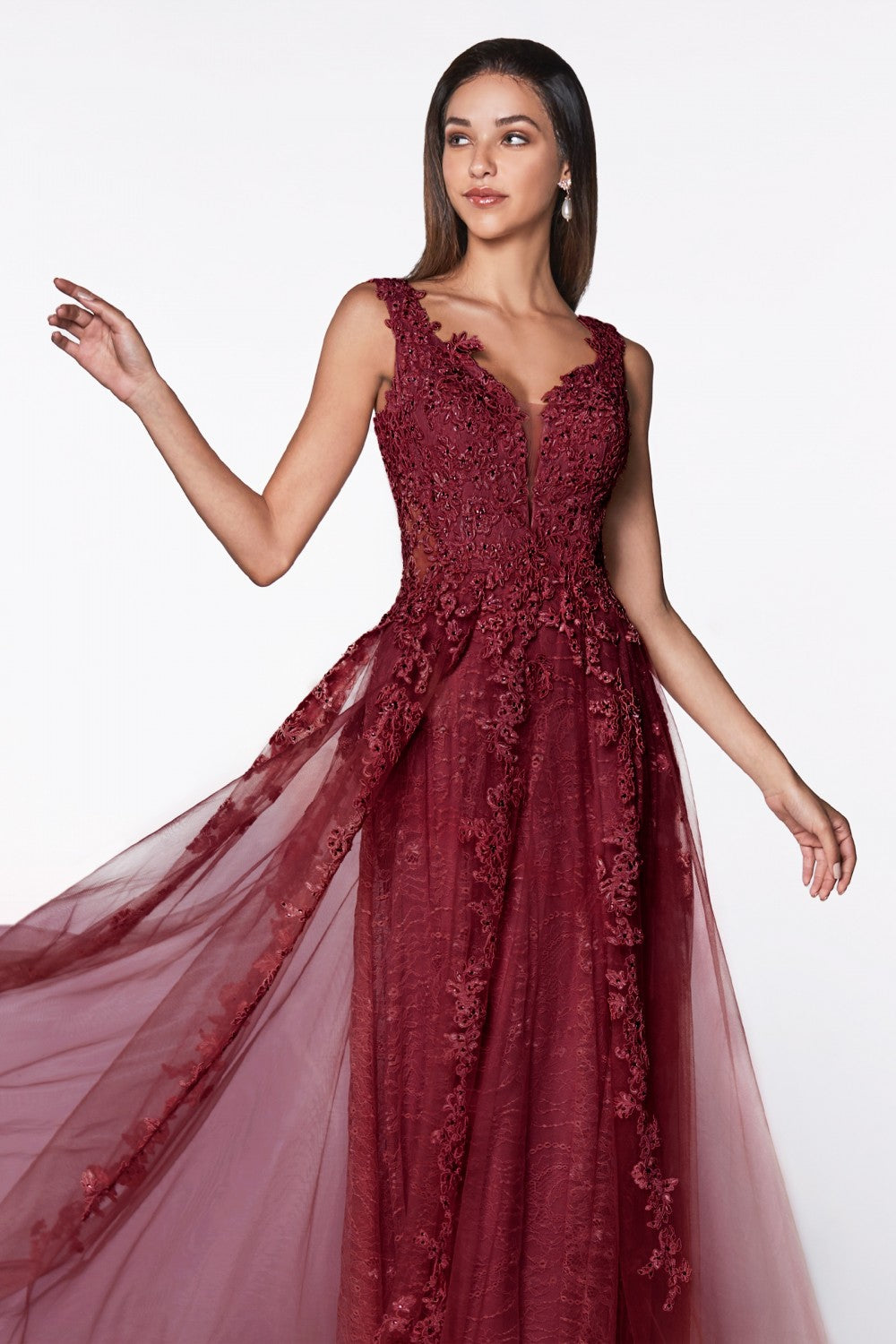 Flowy A-Line Lace And Tulle Dress With Deep V-Neckline And Open Back