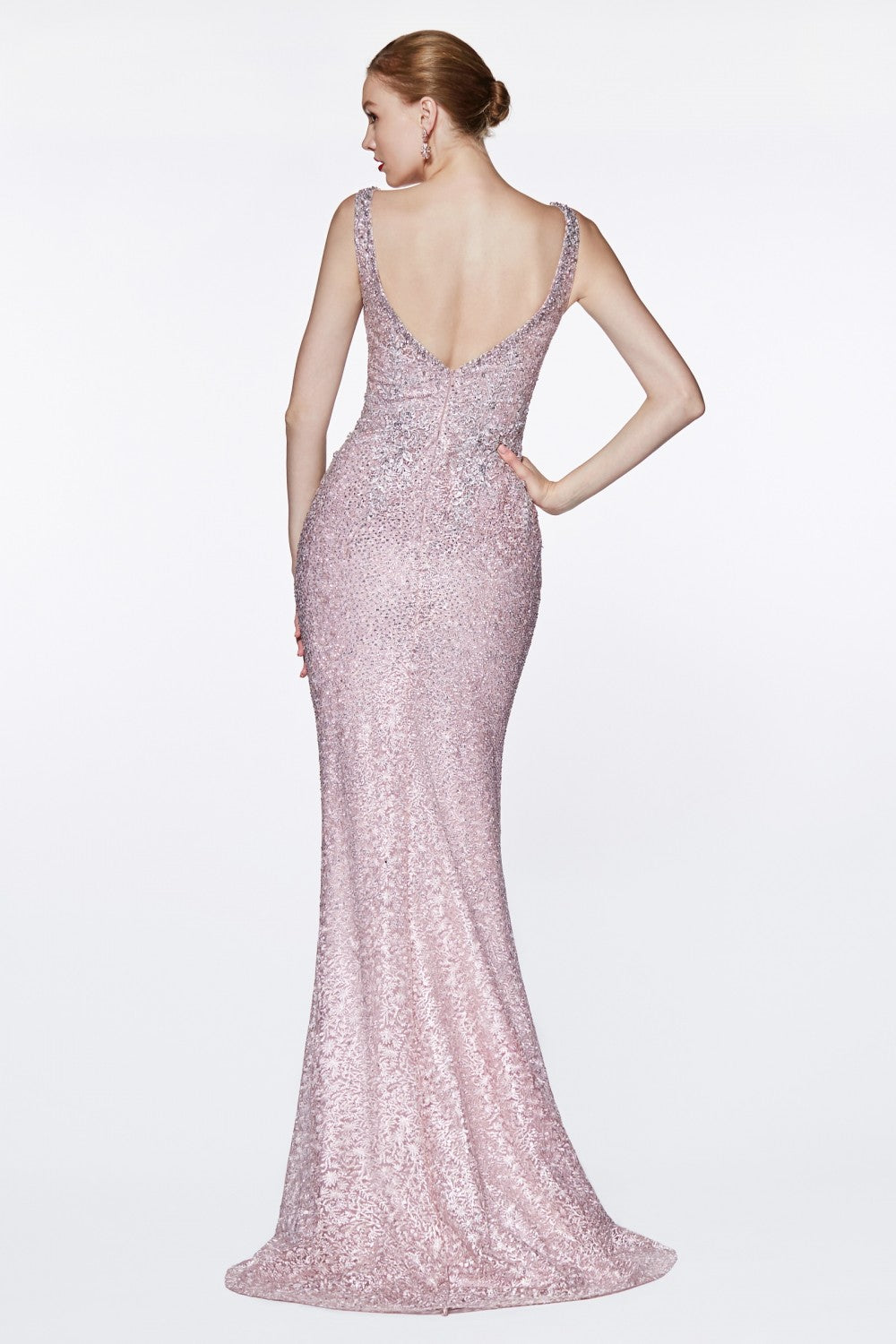 Fitted Beaded Lace Gown With Deep V-Neckline And Open Back