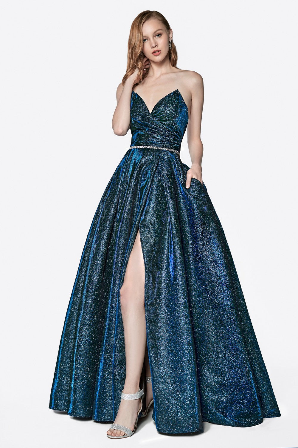 Strapless Glitter Gown With Point Sweetheart Neckline And Leg Slit
