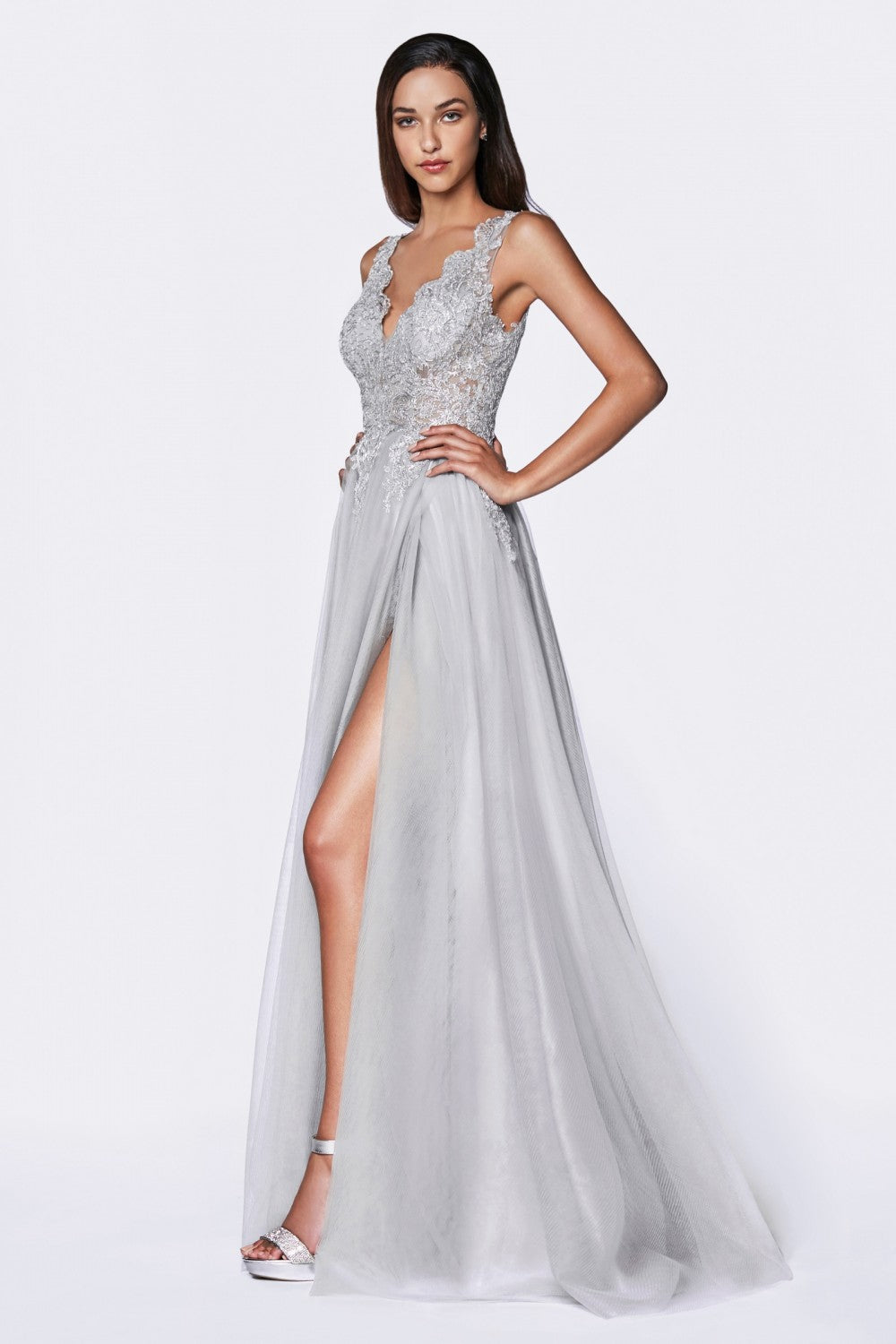 A-Line Tulle Gown With Deep V-Neckline And High Slit