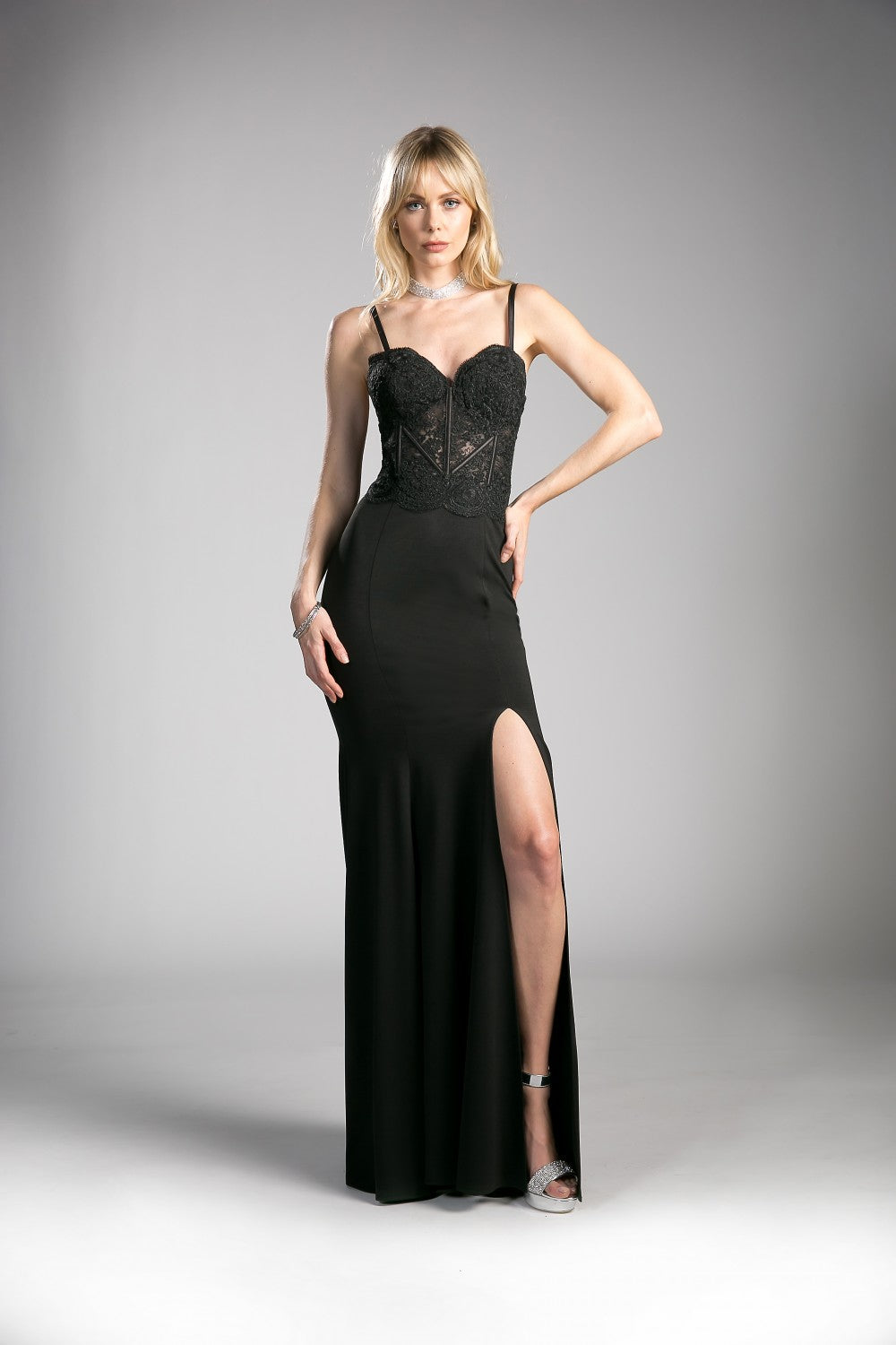 Fitted Lace Bodice Gown With Leg Slit