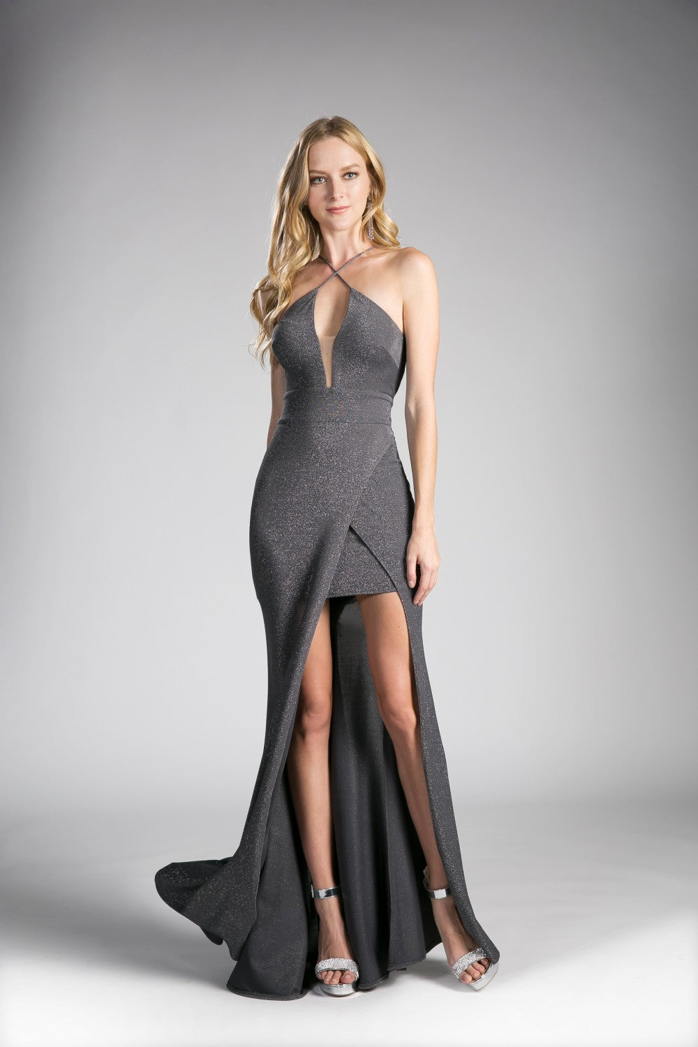 Fitted Metallic Gown With Criss Cross Neckline And Leg Slit