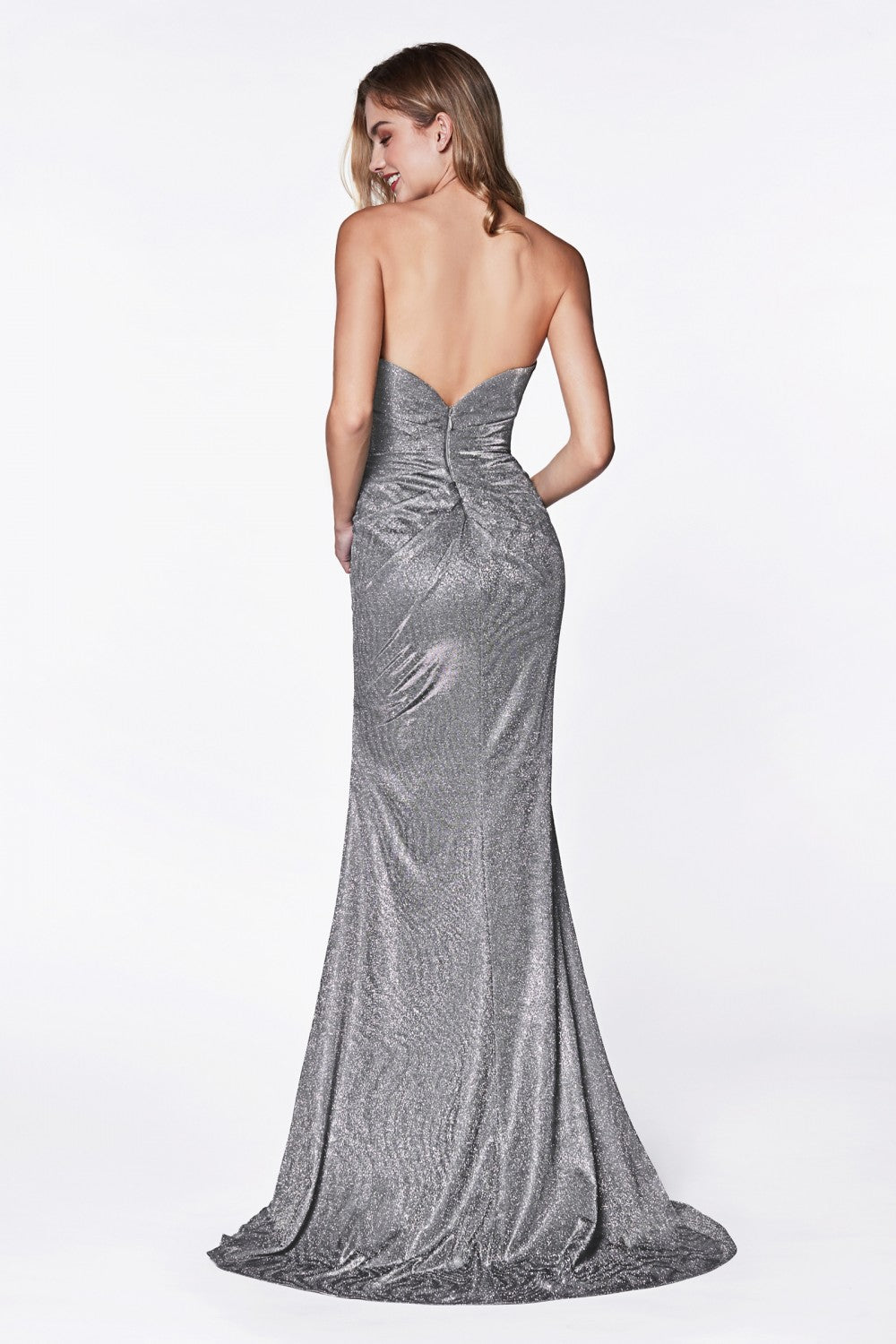 Strapless Ruched Sparkle Dress With Sweetheart Neckline And Leg Slit
