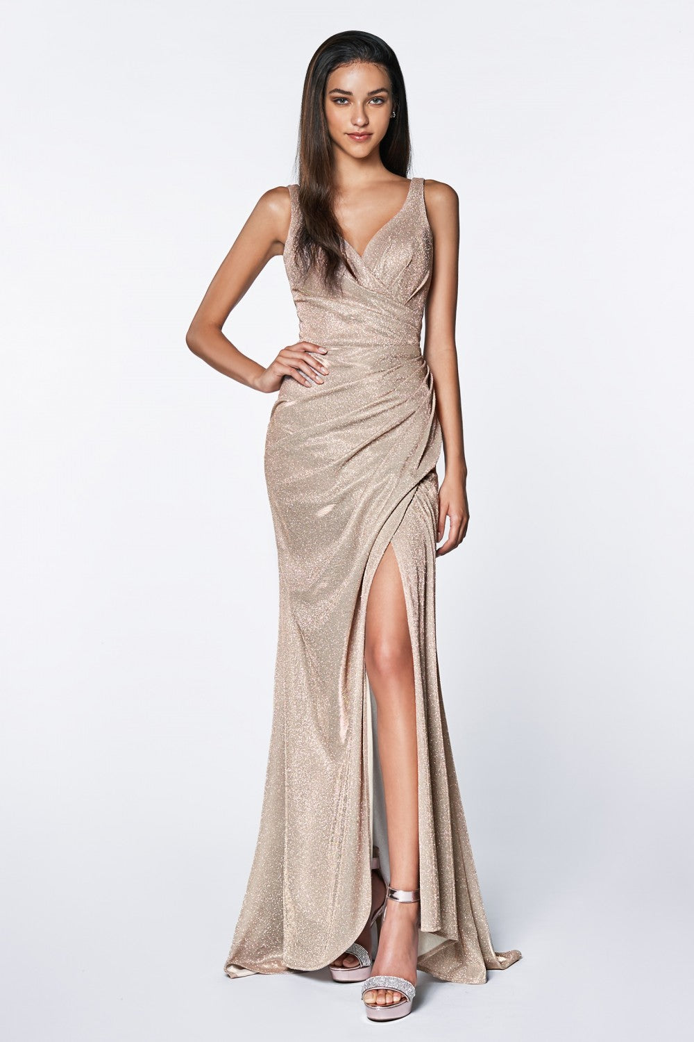 Fitted Sparkle Rouched Gown With Leg Slit And V-Neckline