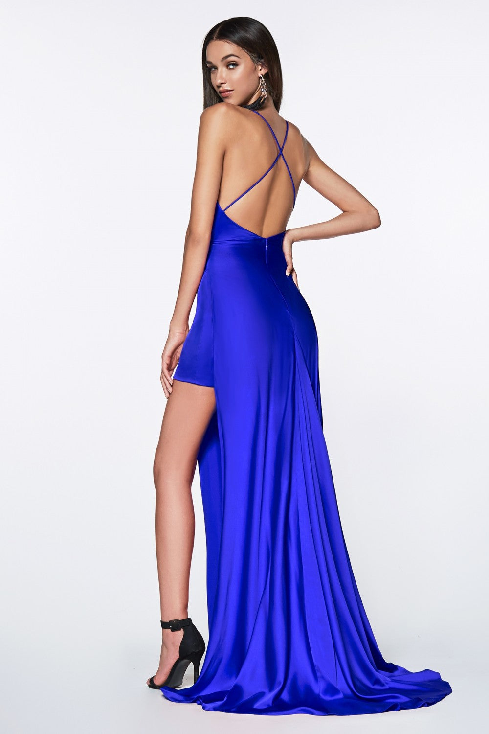 Fitted Gathered Gown With Side Slit And Mini Skirt