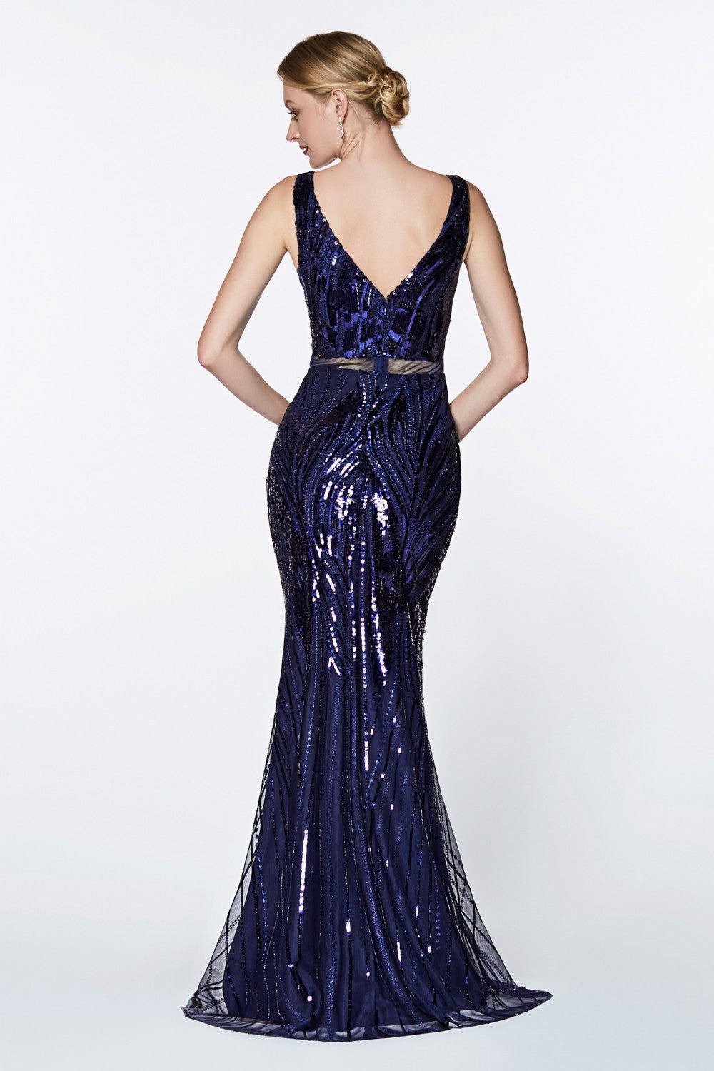 Fitted Sequined Gown With V-Neckline And Open Back