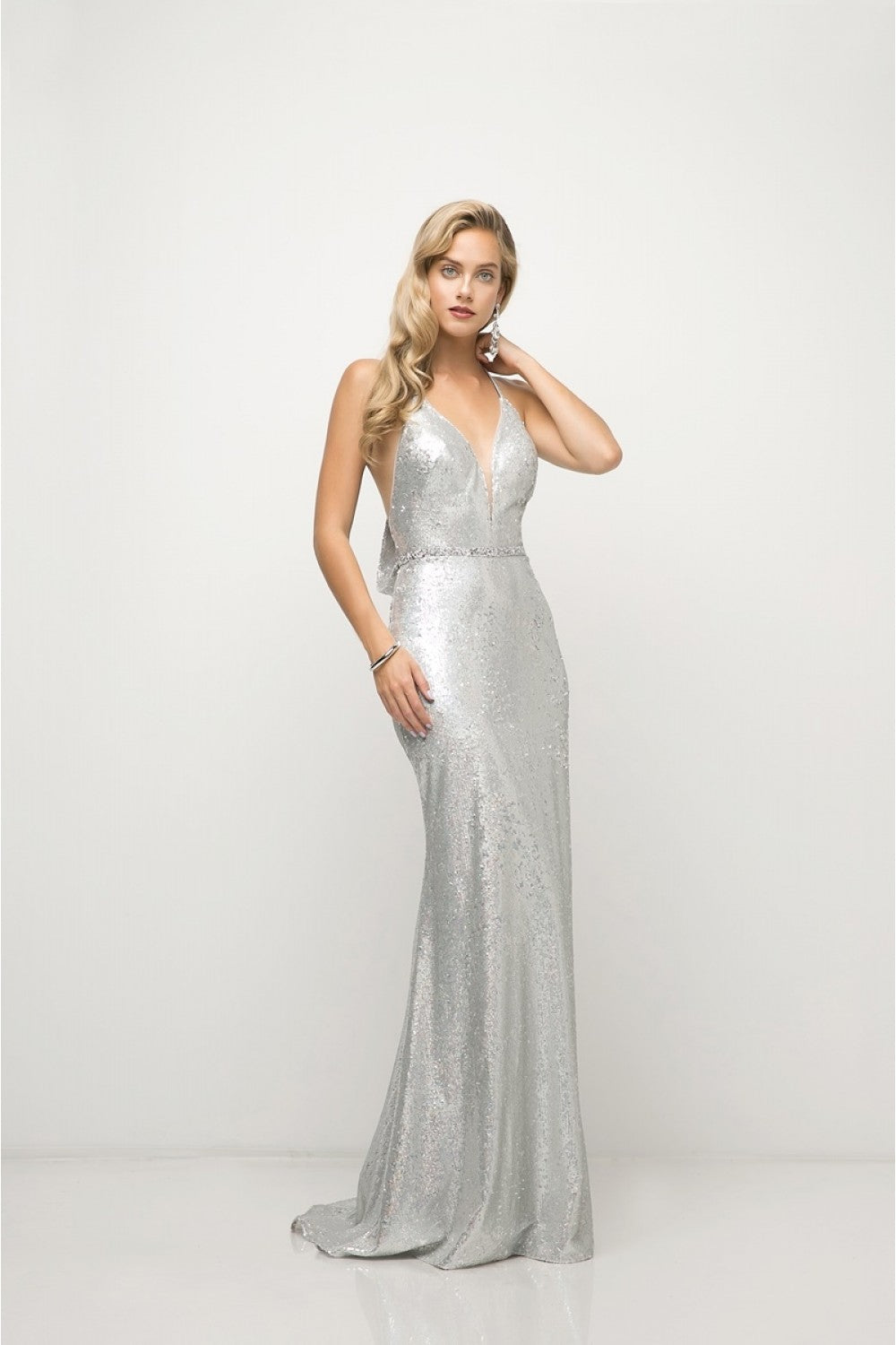 Fitted Sequin Gown With Halter Neckline And Open Cowl T-Back