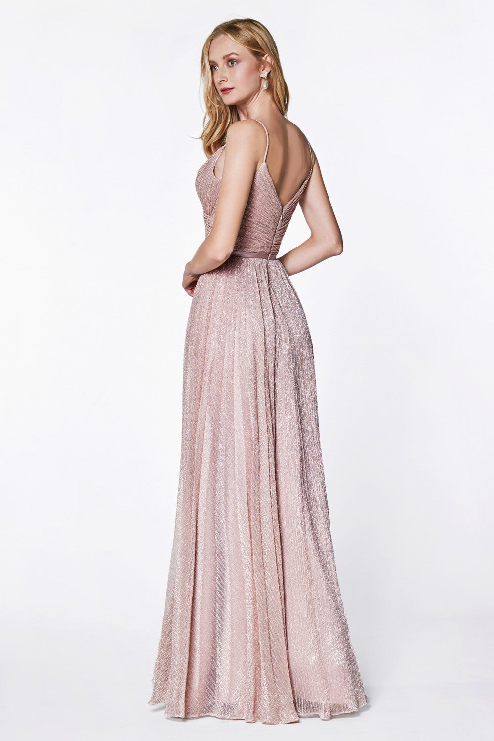 Metallic Stretch Knit Flowy A-Line Dress With Pleated Details And Satin Belt