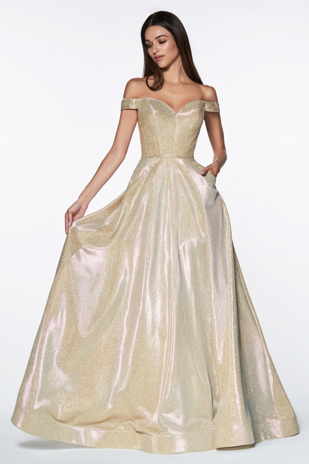 Off The Shoulder Ball Gown With Glitter Effect And Sweetheart Neckline