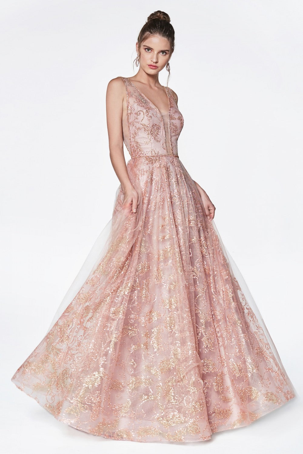 Glitter Print Ball Gown With Deep Plung Neckline And Illusion Sheer Sides