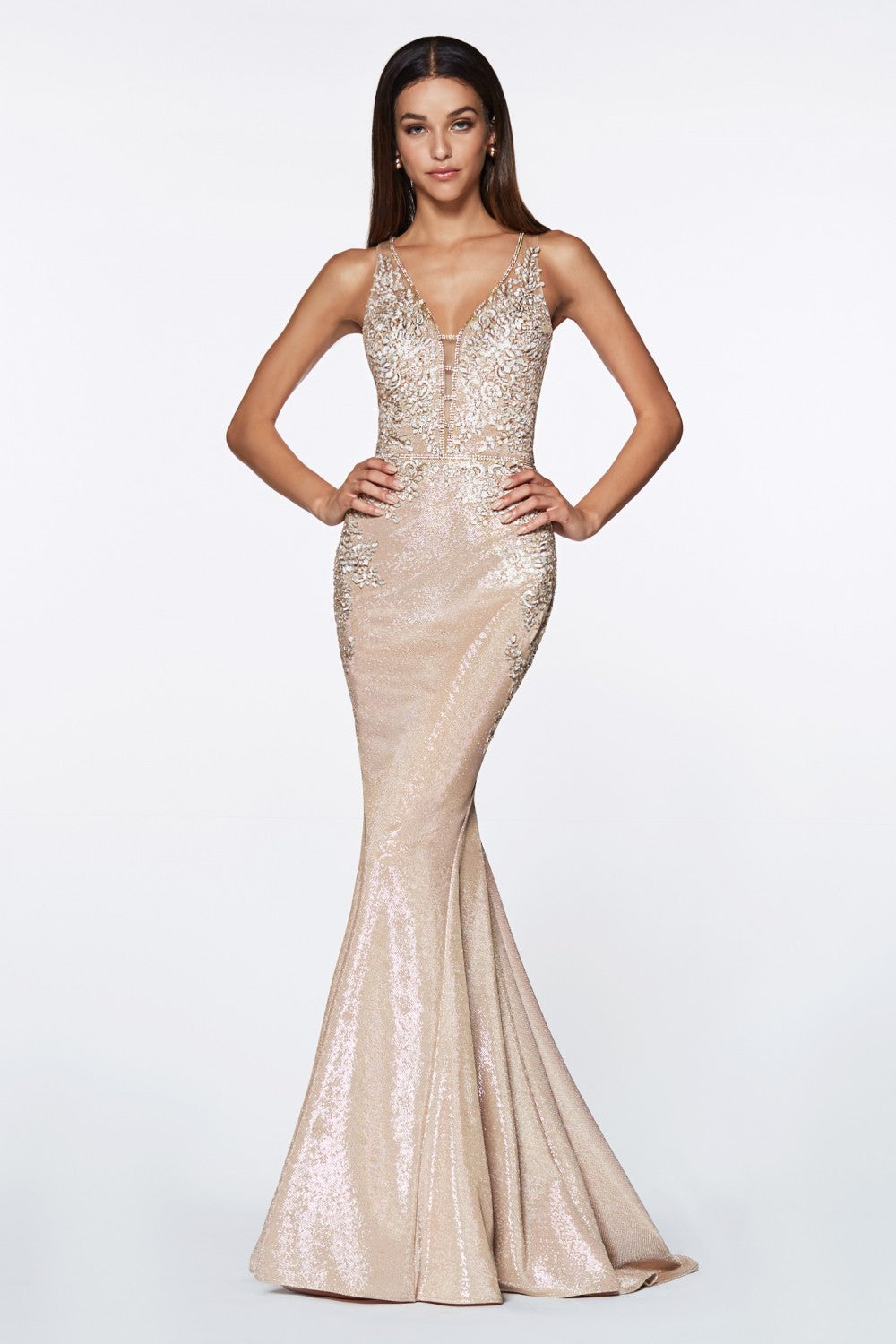 Fitted Metallic Gown With Beaded Lace Details And Deep Plung Neckline