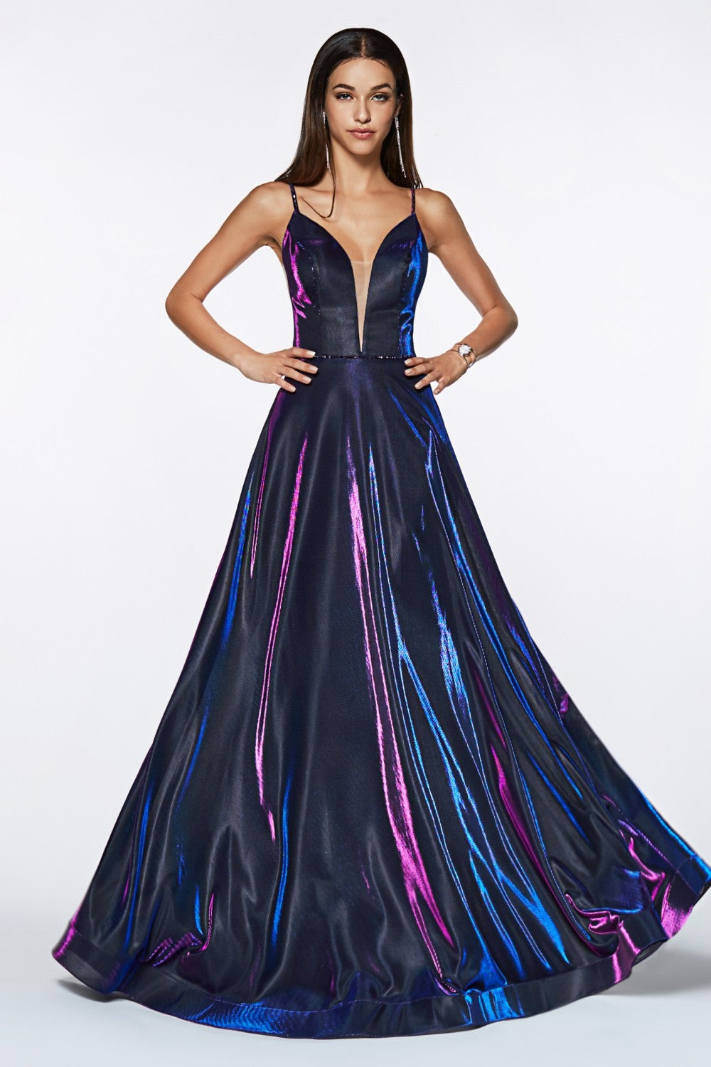 Metallic Iridescent Ball Gown With Deep Plunge Neckline And Open Back