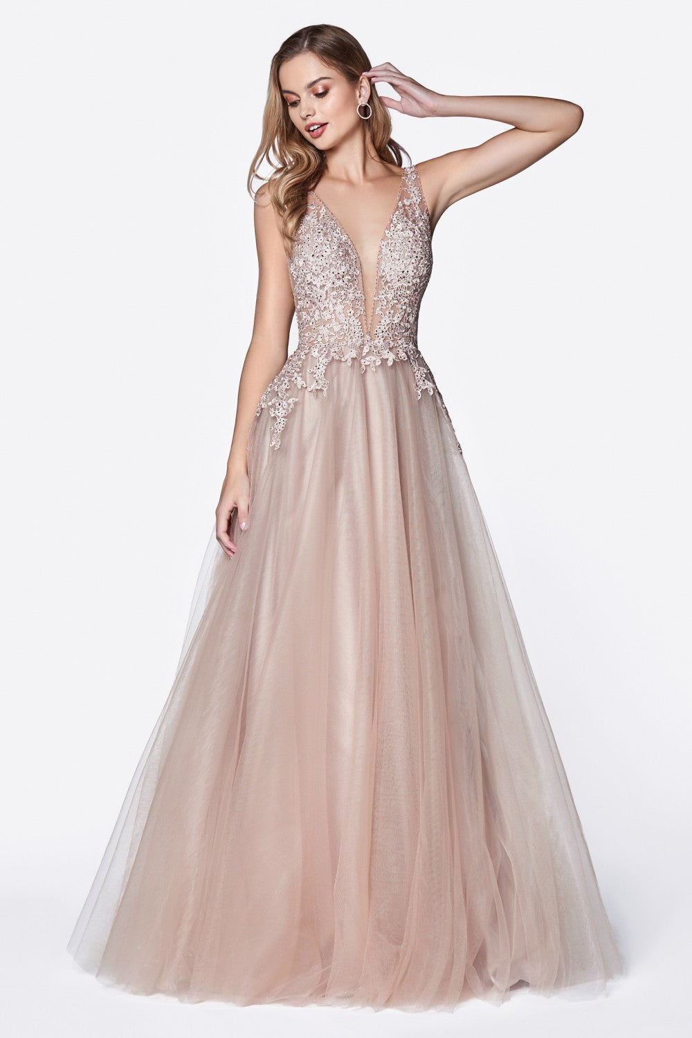 Tulle A-Line Gown With Deep Plunge And Jewled Lace Detials
