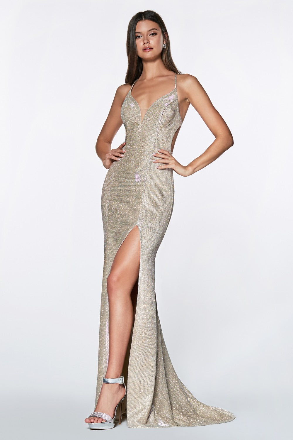 Fitted Metallic Gown With Criss Cross Beaded Back Ans Leg Slit