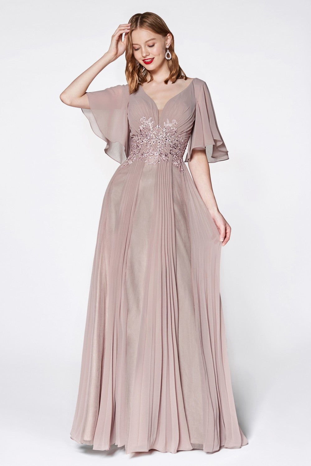 A-Line Chiffon Gown With Flutter Sleeves And Lace Details