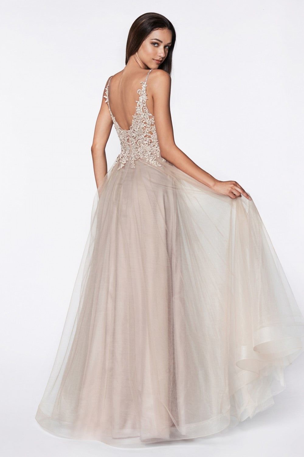 A-Line Tulle Gown With Beaded Lace Bodice And Open Back