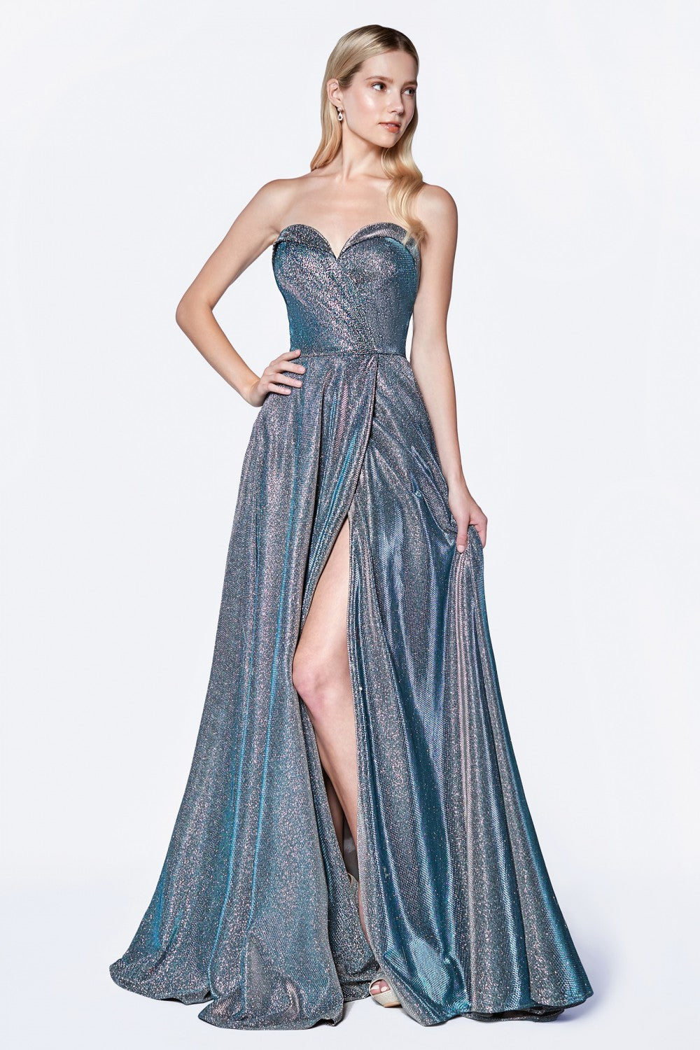 Strapless Ball Gown With Sweetheart Neckline And Leg Slit