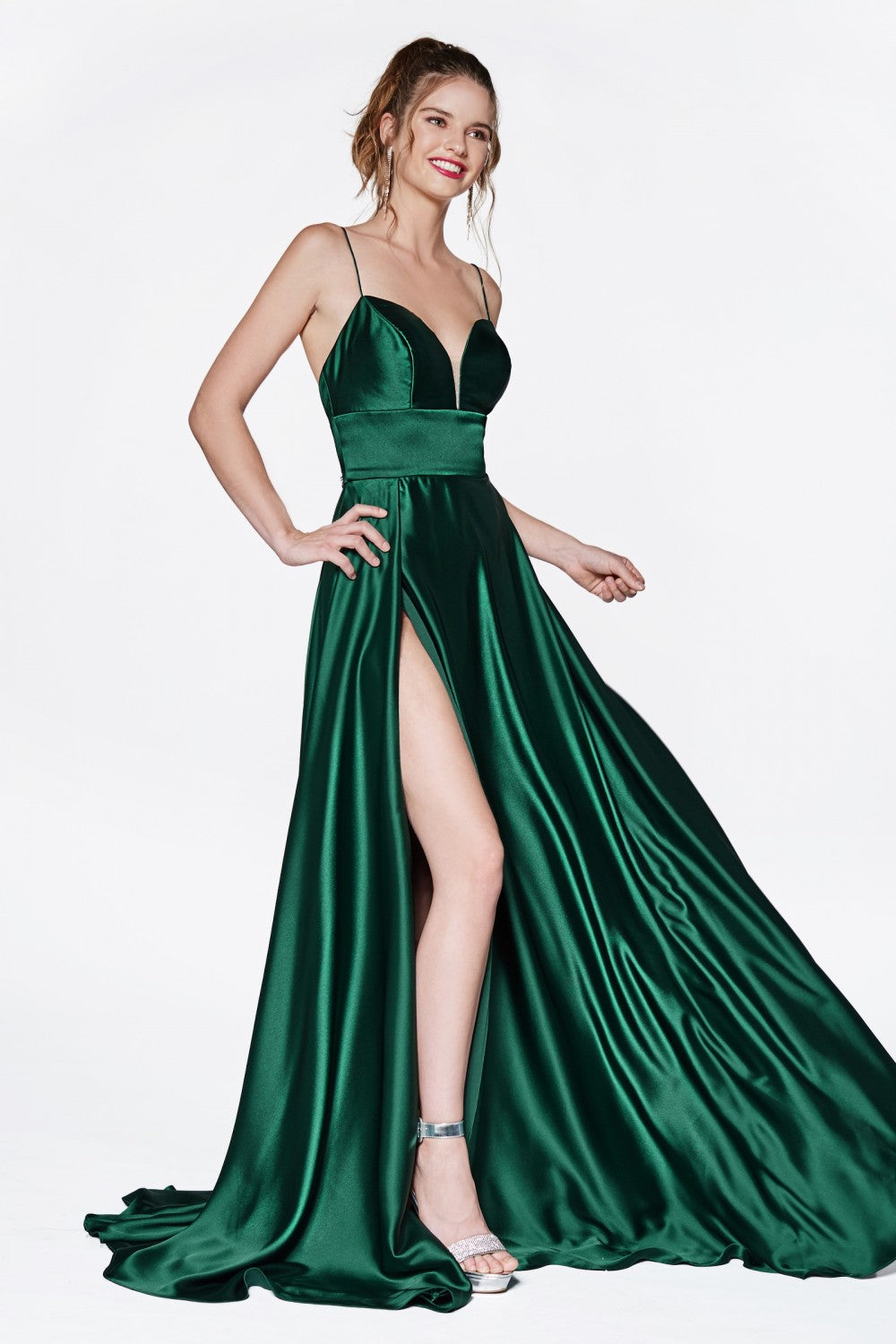A-Line Gown With Deep Sweetheart Neckline And Leg Slit