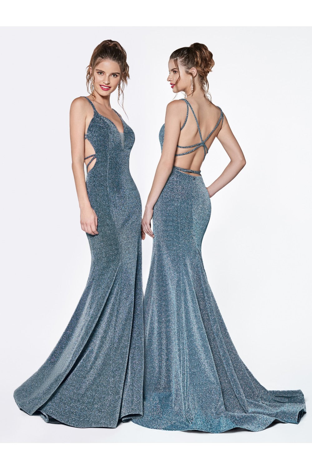 Fitted Gown With Metallic Stretch Fabric And Criss Cross Open Back
