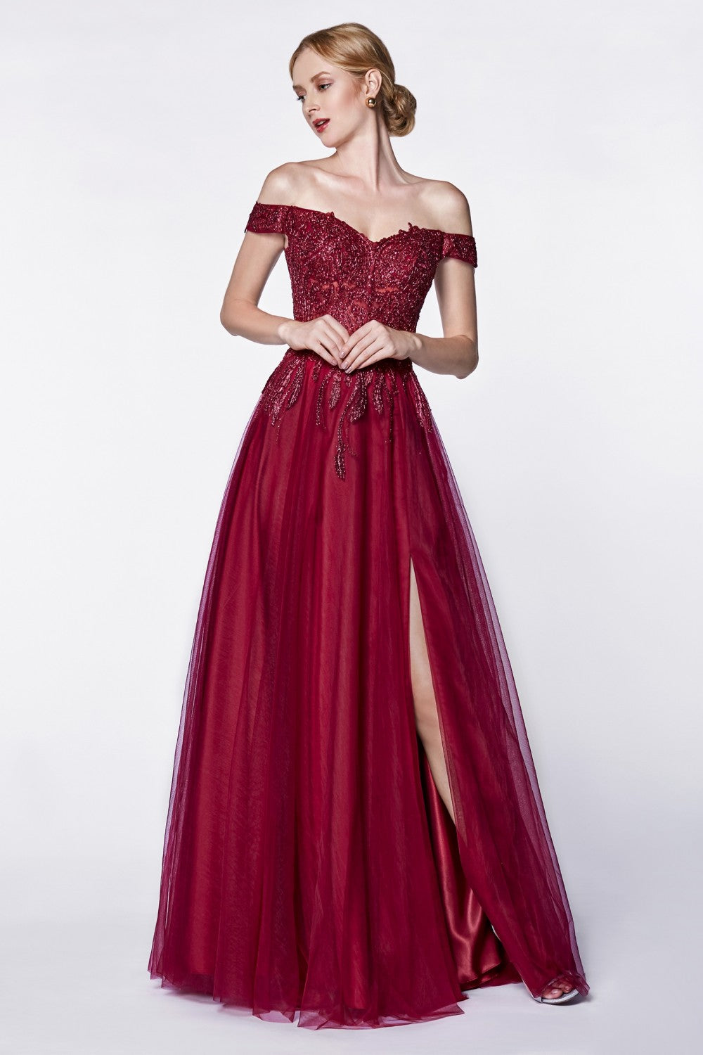 Off The Shoulder Tulle A-Line Gown With Beaded Lace Bodice And Leg Slit