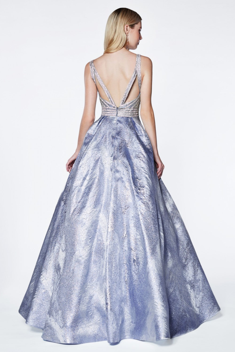 Brocade Ball Gown With Beaded Bodice And Deep Plunging Neckline