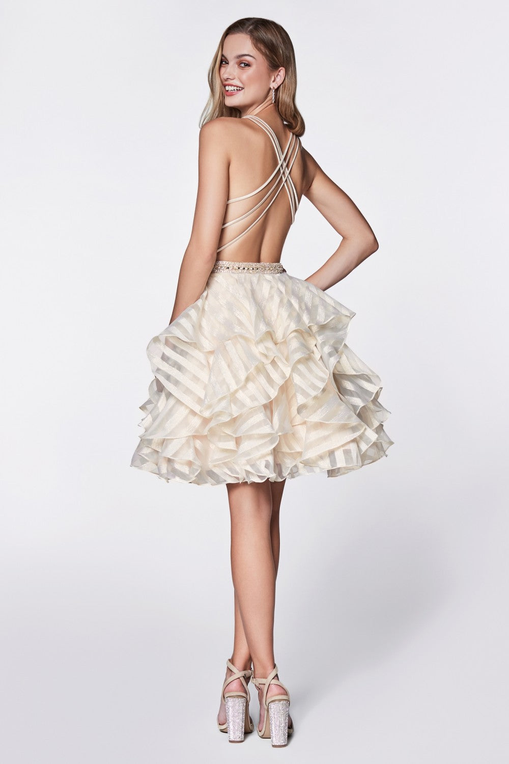 Satin Deep V-Neckline Dress With Striped Layered Organza Skirt And Criss Cross Back