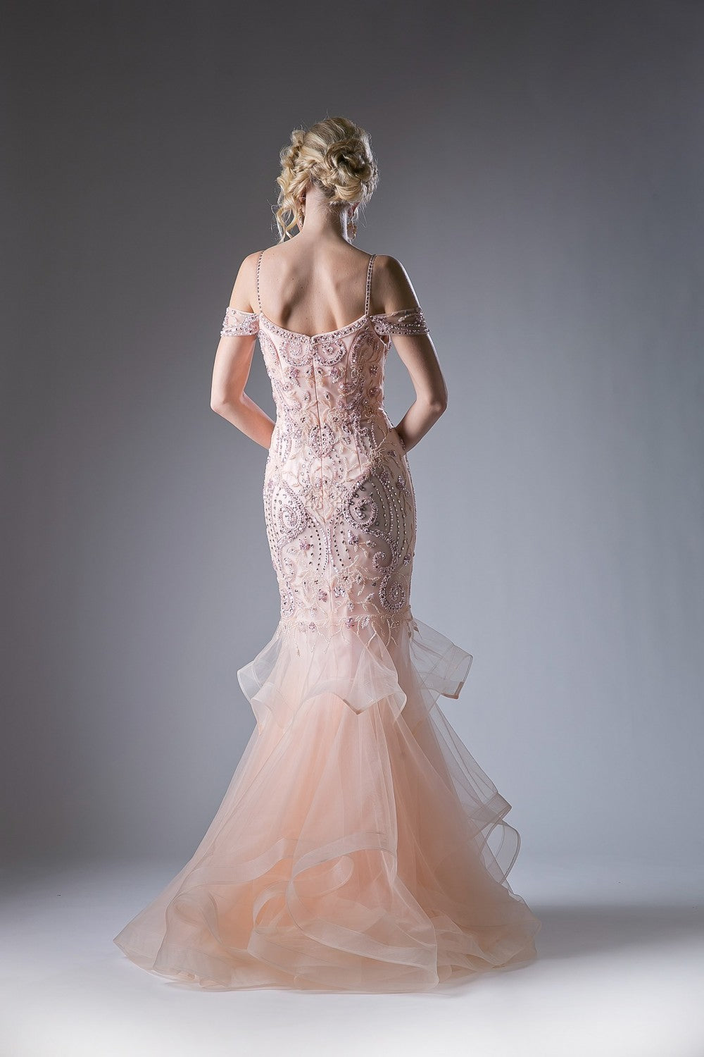Off The Shoulder Beaded Mermaid Gown With Layered Tulle And Horse Hair Trim