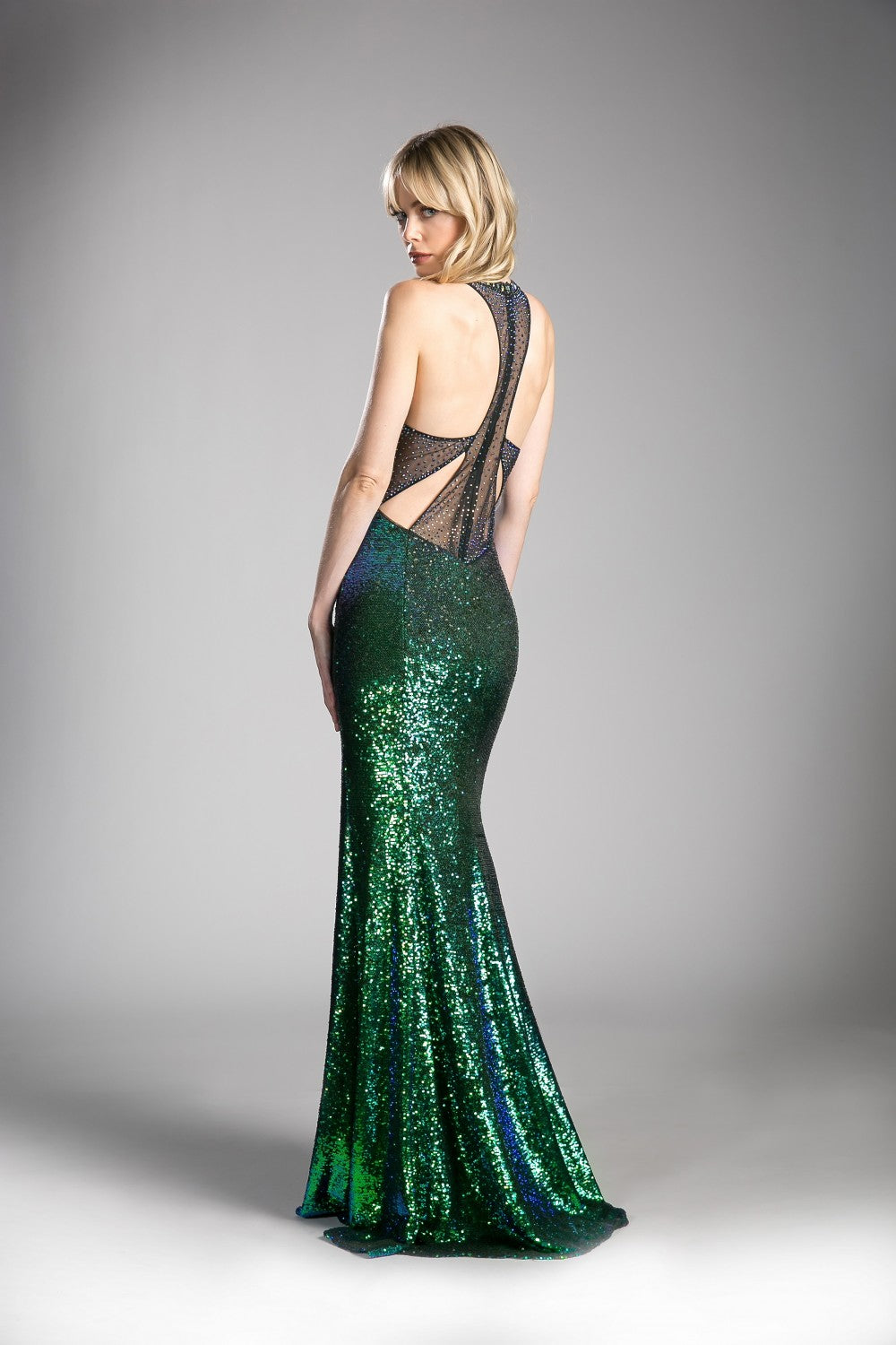 Fitted Iridescent Sequin Gown With Keyhole Front And Cut Out Back