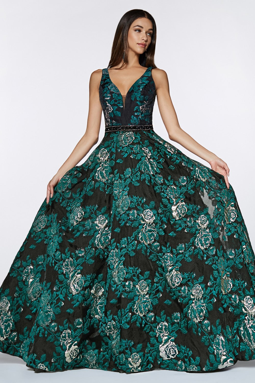 Brocade Floral Ball Gown With Beaded Belt And Pockets