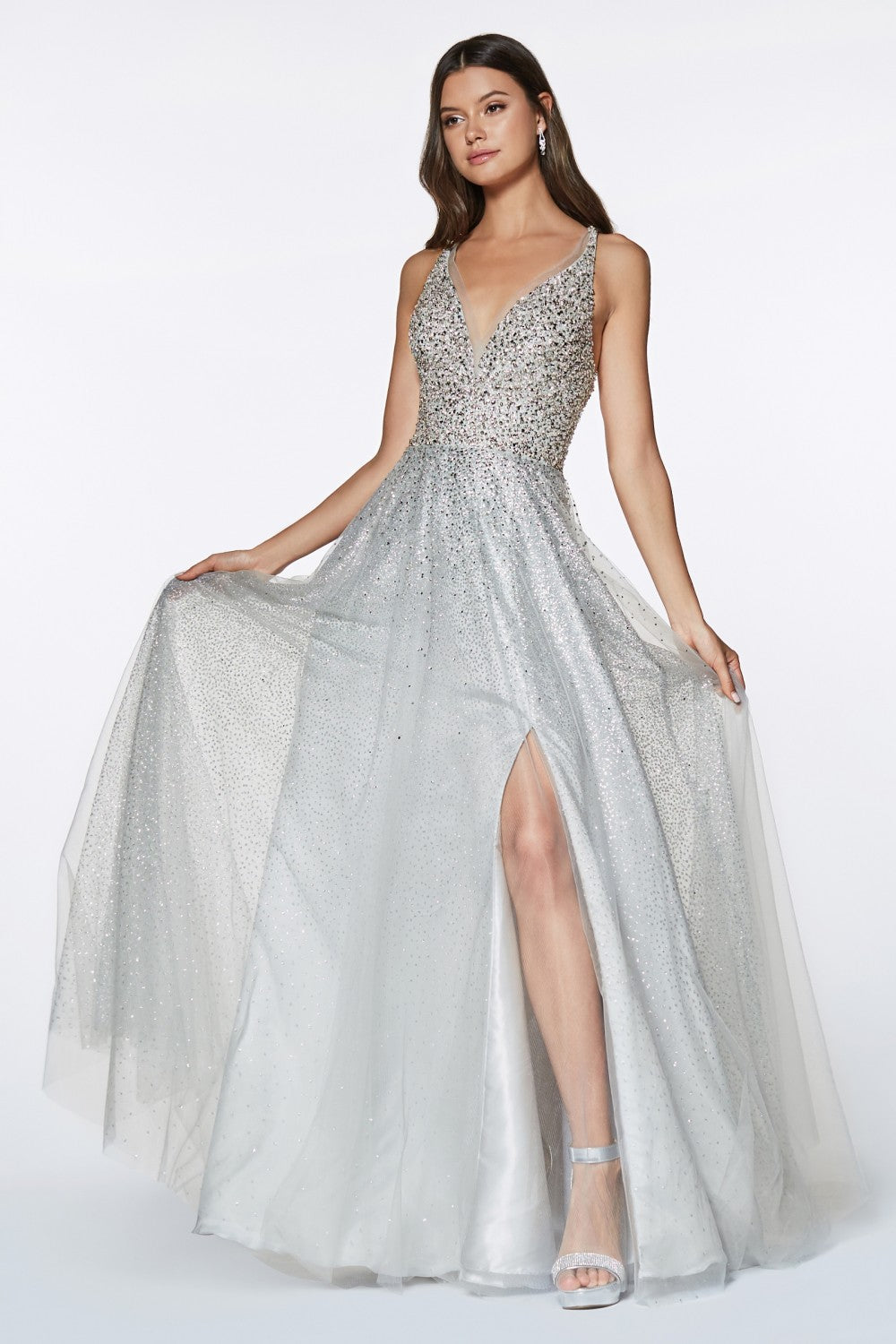 A-Line Tulle Gown With Beaded V-Neckline Bodice And Leg Slit