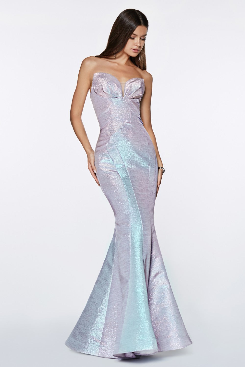 Fitted Strapless Gown With Metallic Iridescent Fabric And Gathered Sweetheart Neckline