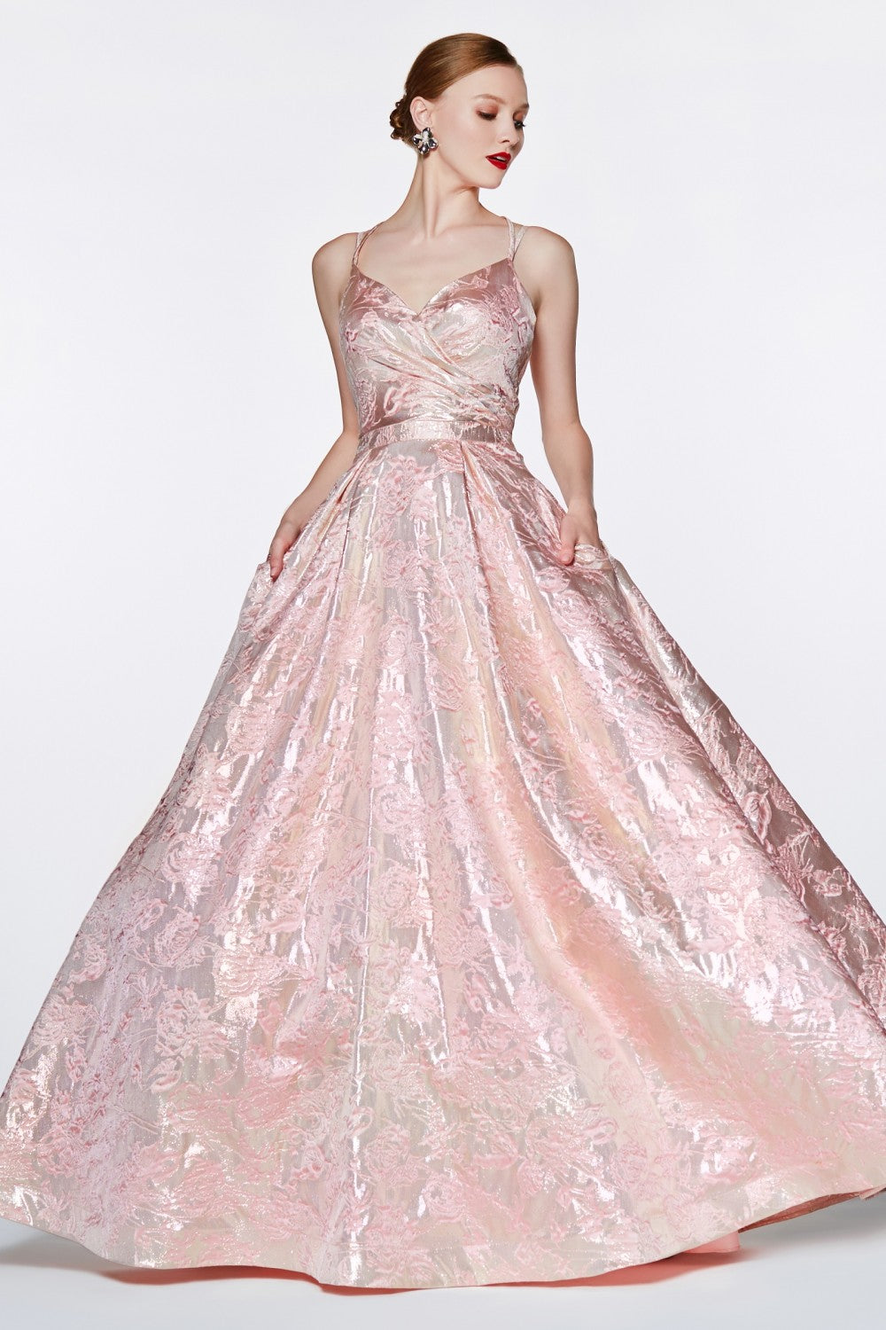 Brocade Ball Gown With Gathered Sweetheart Neckline And Pockets