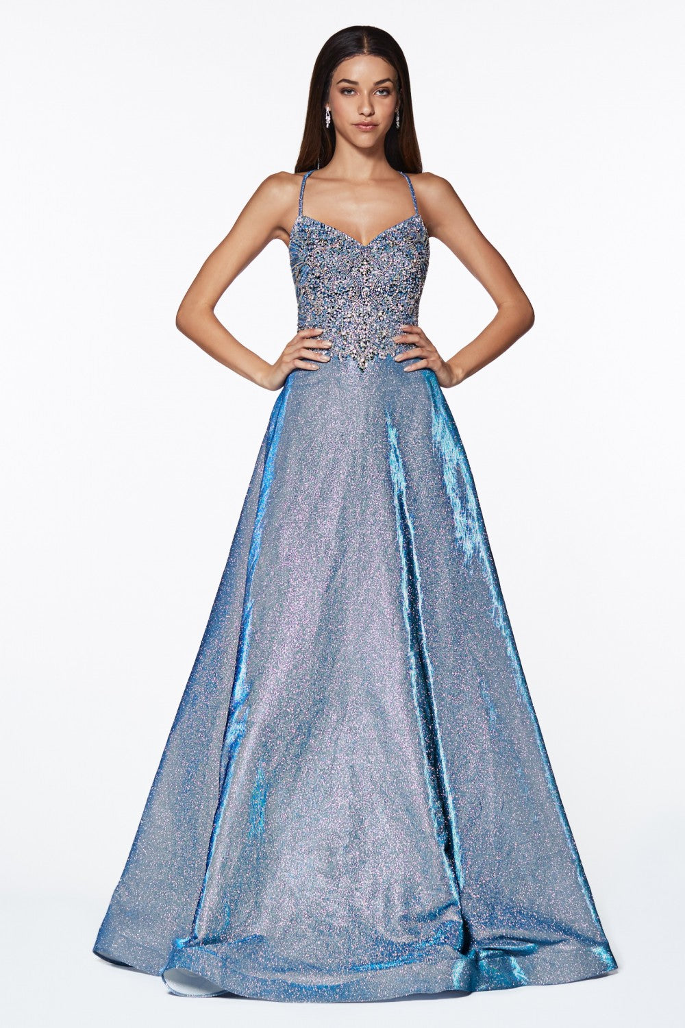 A-Line Glitter Gown With Beaded Top And Criss Cross Back