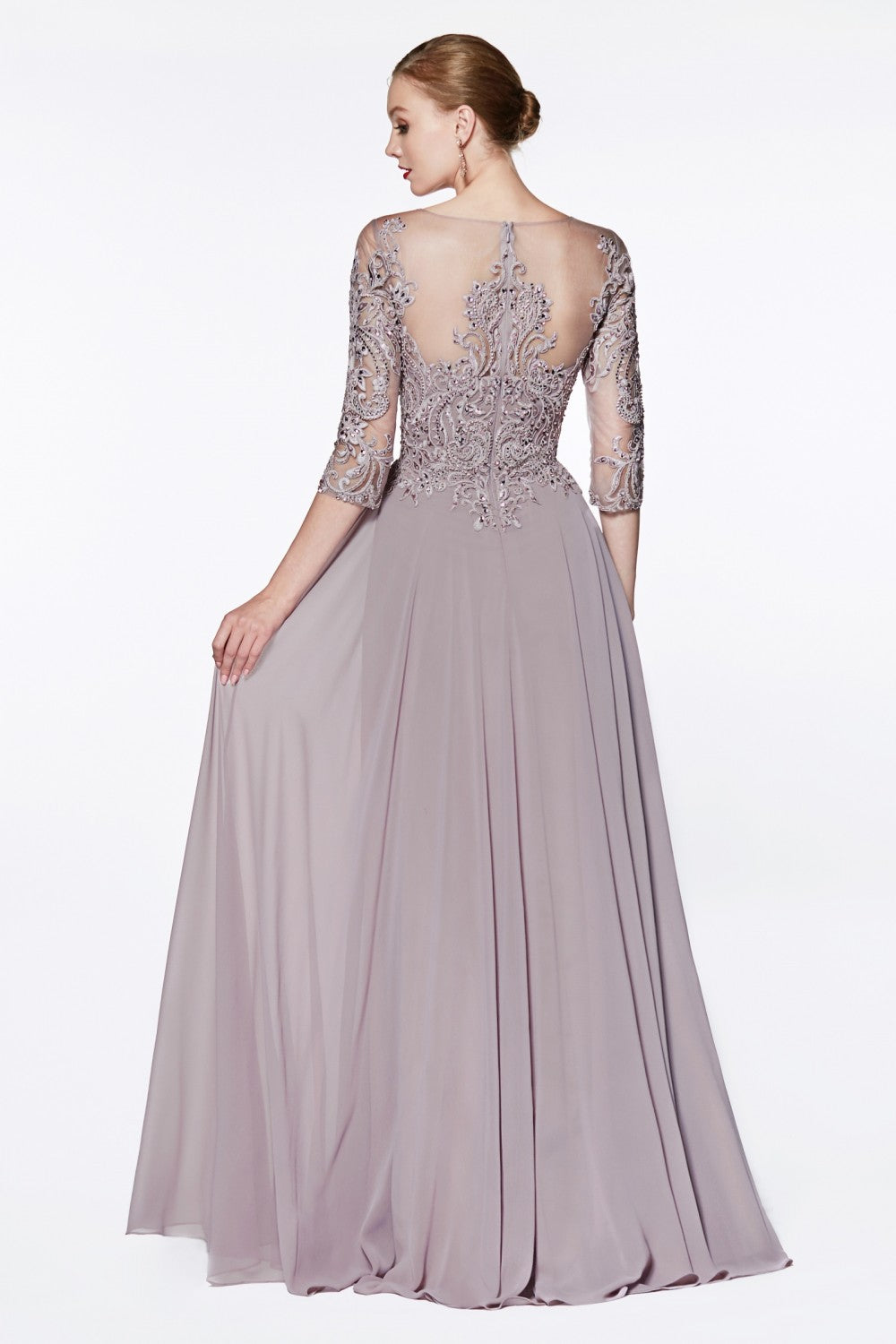 A-Line Chiffon Gown With Lace Three-Quarter Sleeve And Closed Back