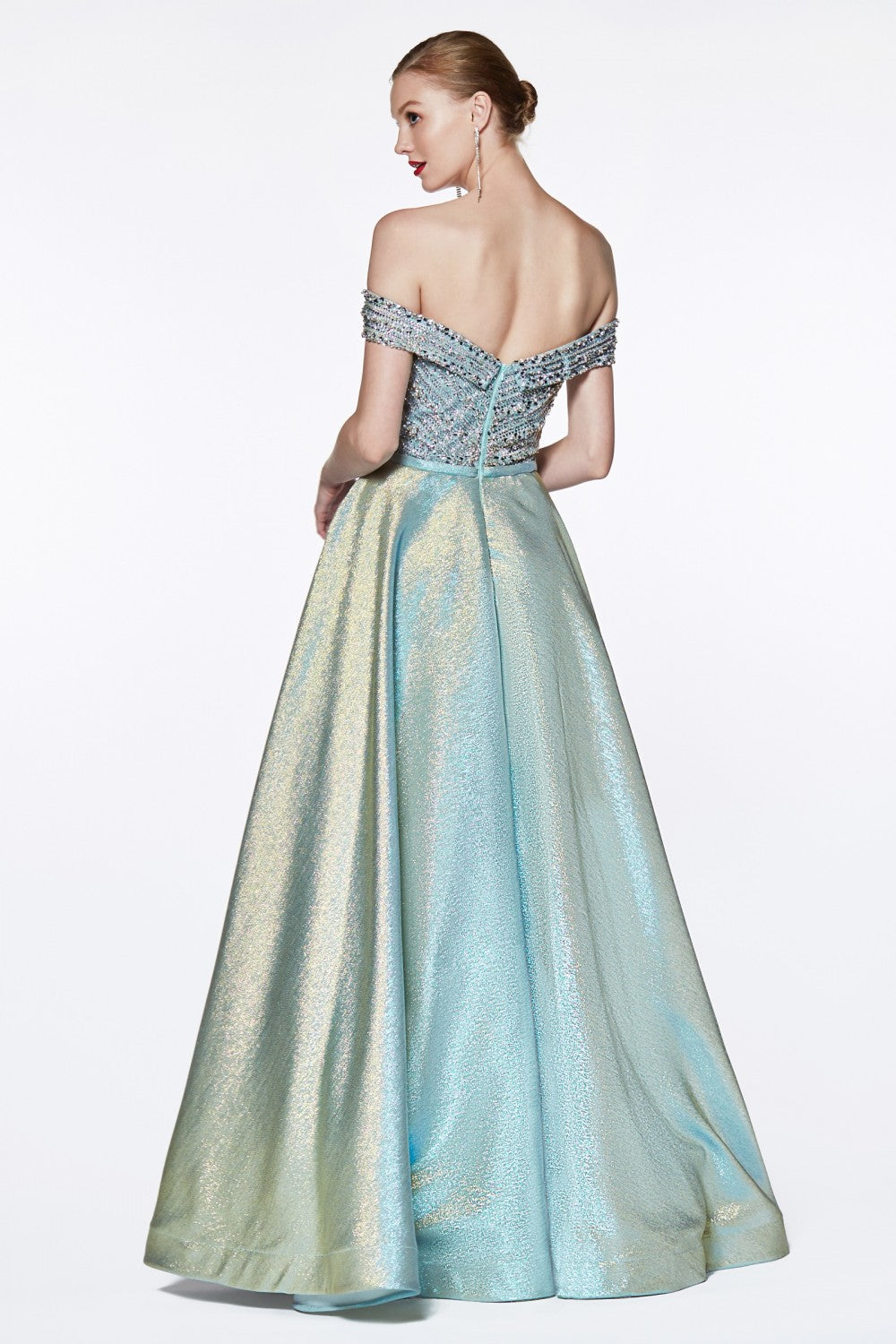 Off The Shoulder Ball Gown With Beaded Sweetheart Bodice And Metallic Slitted Skirt