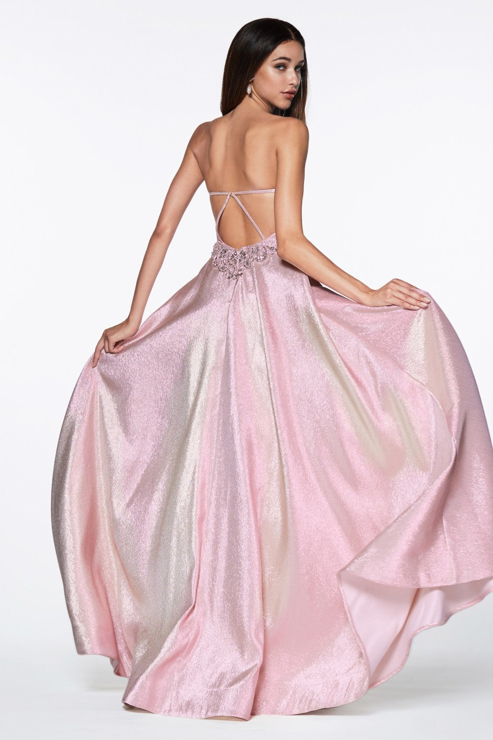 Strapless Metallic Fitted Gown With Over Skirt And Leg Slit