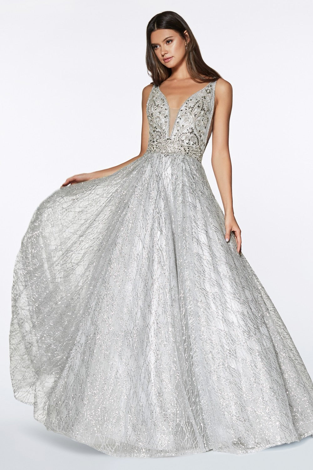 Glitter Ball Gown With Beaded Bodice And Illusion Sides