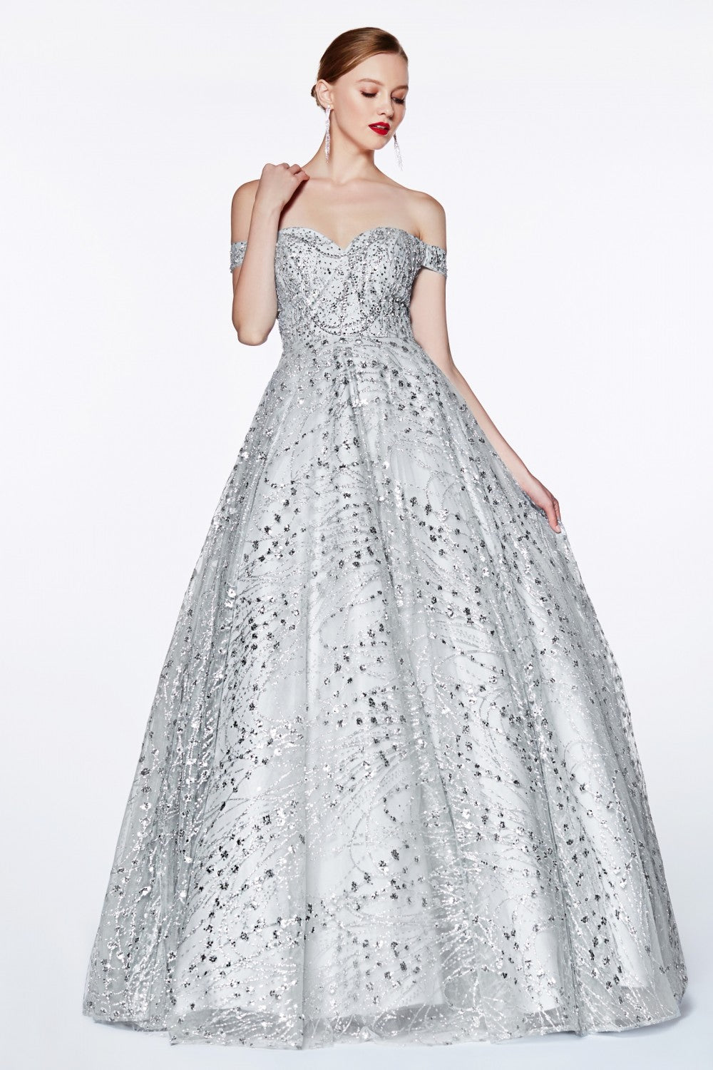 Off The Shoulder Glitter Gown With Sweetheart Neckline And Beaded Bodice