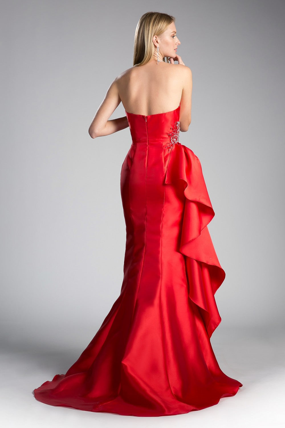 Beaded Satin A - Line Gown