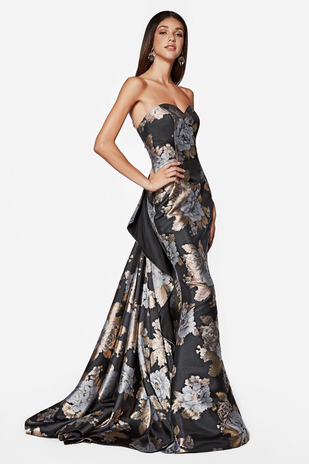 Strapless Brocade Fit And Flare With Layered Train