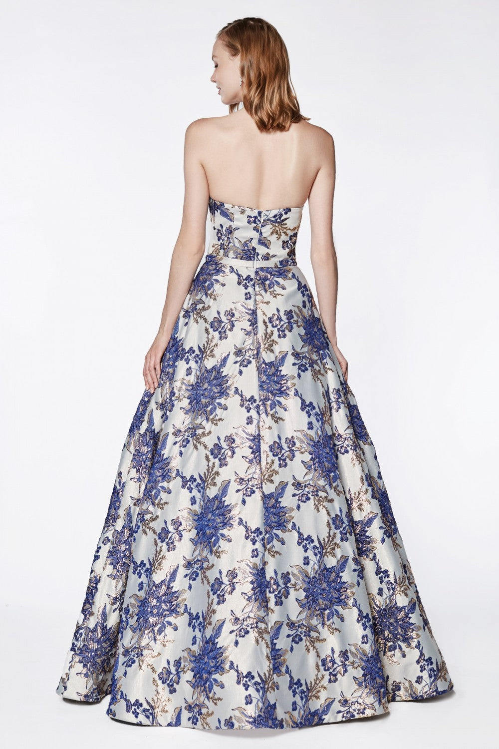 Strapless Floral Brocade Gown With Straight Neckline And Pockets